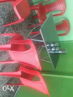 Fresh 5 chairs and a strong steel folded bench in
