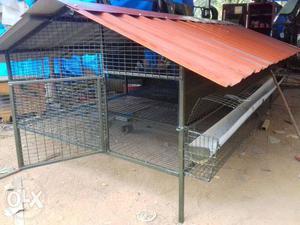 Gray Mesh Metal Chicken Coop