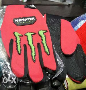 Pair Of Red-and-black Monster Energy Gloves