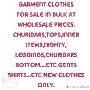 Garment clothes for sale in bulk at wholesale