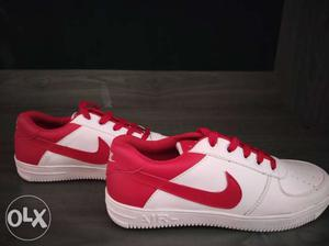Pair Of White-and-red Nike Air Force 1 Low-top Sneakers