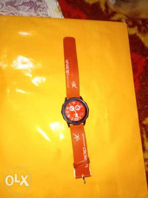 Round Red And White Chronograph Watch With Red Strap