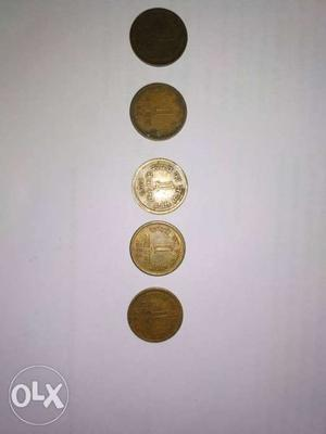 5 pieces of 1 Naya Paisa coins in sequence of ,