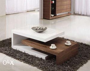 Brown Wooden Coffee Table With Brown Wooden Base