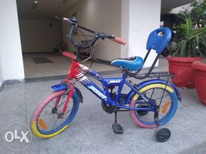 Children's Blue Bike With Training Wheels
