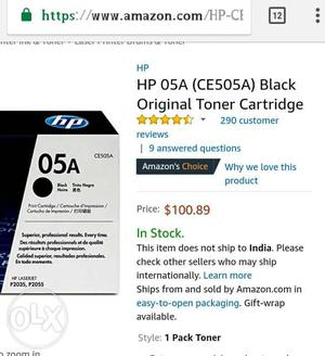 HP 05A (CE505A) toner cartridges work with: HP