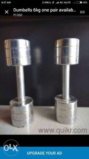 6kg dumbells one pair available for sale in hubli
