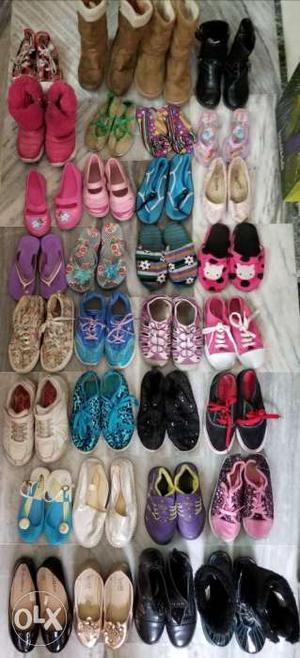 32 pairs (Boots/ aqua shoes/ Belle shoes/