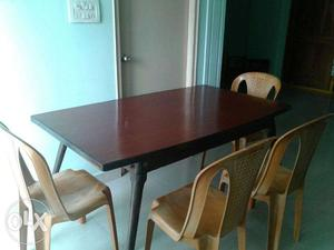 Six Seater Dining Table set with Four chairs and Cushions