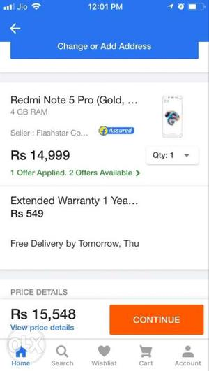 Redmi Note 5 Pro (Gold) 4GB Ram and 64GB