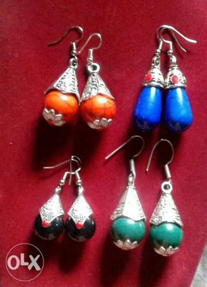 Silver oxydized earrings(4 colours together)