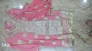 Baby pink dress with heavy work top, santoon