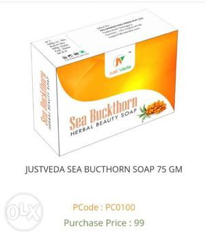 JustVeda Sea Buckthorn Herbal beauty Soap. Grade