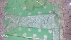 Pista green georgette top with santoon bottom and