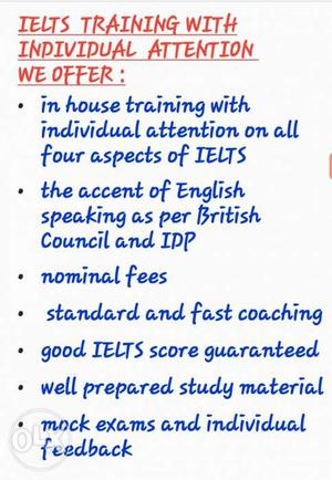 We provide individual IELTS COACHING with