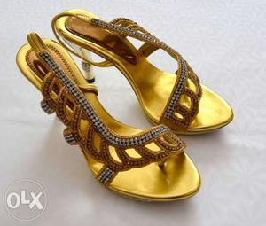 Beautiful Cinderella wedding Sandals Golden Color Brand New