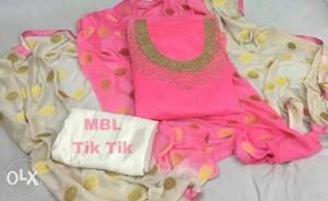 Pink, Green, And Gray Top bottom & dupatta