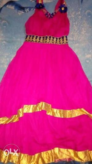 Pink color frock for girls of age 6-8 years Brand