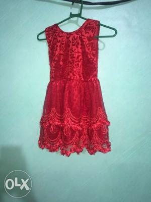 Rose red colour gown dress for 3 years old girl.party wear