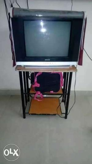 21 inch Samsung TV with TV stand and cover