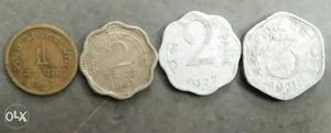 Old coins 1,2 and 3.Paise