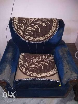 5 seater sofa set with teak wood and cover and TV