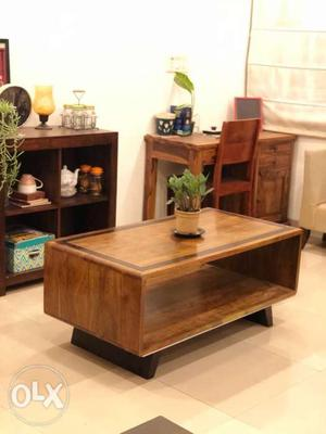 Brown Wooden Coffee Table And Side Table