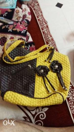 Black And Yellow Leather Bag