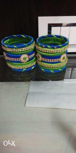 Silk thread bangles set all sizes available also