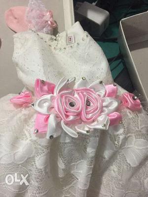 New white colour dress for new born girl baby