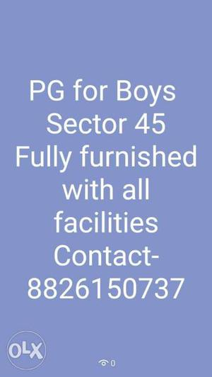 PG for Boys fully furnished with all facilities