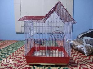House-shaped White And Red Steel Birdcage