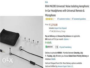 RHA MAYRS WARNTY Universal UK Headphones Earphones Mic