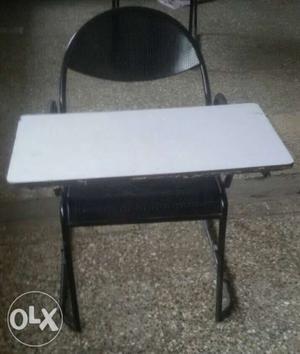 Rectangular White Wooden Table With Black Metal Base