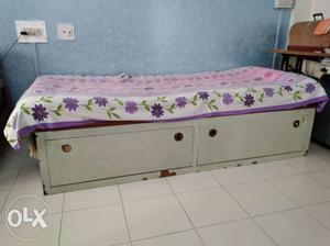 Single bed with storage 6 by 3 Made of wood