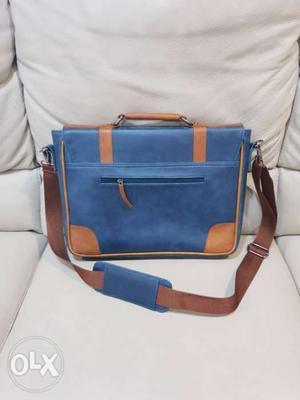 Blue And Brown Original Leather Crossbody laptop Bag for men
