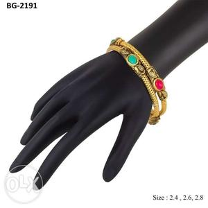 Gold-colored Gemstone Encrusted Bangle