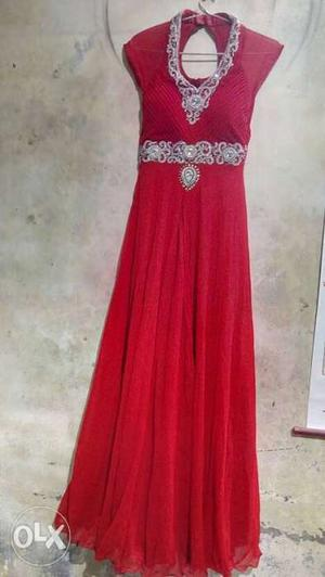 Red party wear good quality gown