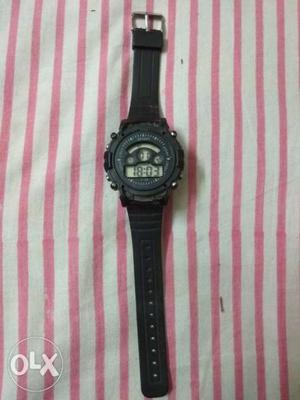 Round Black Digital Watch With Black Strap