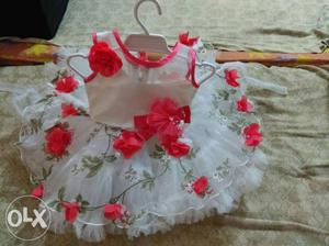 White n red flowers dress age from 6months to