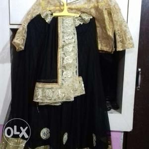 Georget black golden lehenga wore only single time
