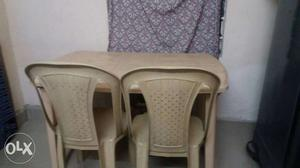 Rectangular Brown Plastic Table With Chairs