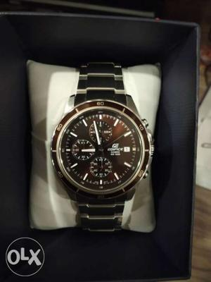 Round Black Chronograph Watch With Silver Link Bracelet