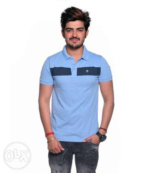 Men's Blue And Black Polo Shirt, Size-Large, Cotton