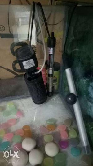 Black Aquarium Heater Ad Pump