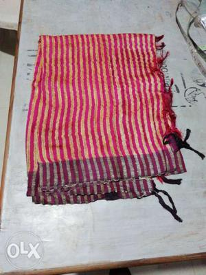 Red And White Striped Textile