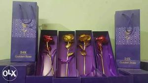 24 K Red And Gold Rose With Boxes