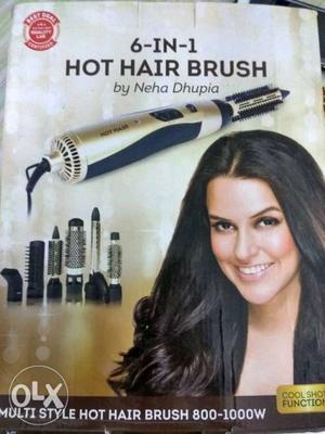 Silver And Black 6 In 1 Hot Hair Brush Box