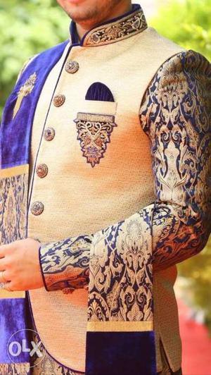 Indo western sherwani with jacket and dhoti. used