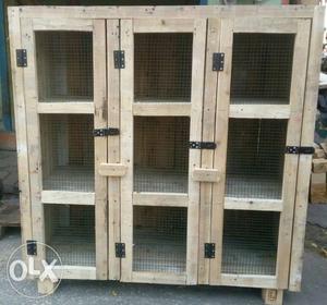 Brown Wooden 3-door Chicken Coop